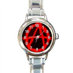 Anarchy Round Italian Charm Watch, punk, goth, rock