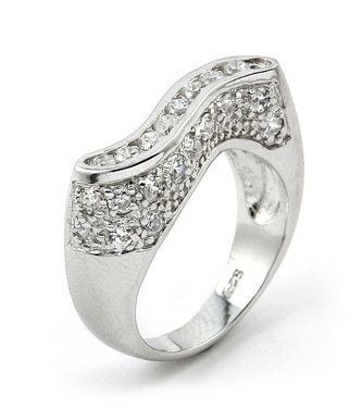 CURVED BAR CZ RING