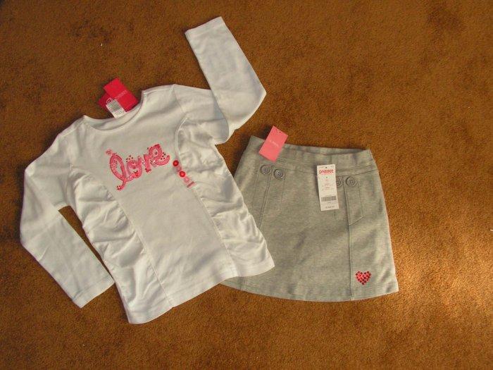 Girls Gymboree  lot of 2 grey fleece skirt & long  sleeve T-shirt SZ 6 Brand New