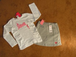Girls Gymboree  lot of 2 grey fleece skirt & long  sleeve T-shirt SZ 6 Brand New