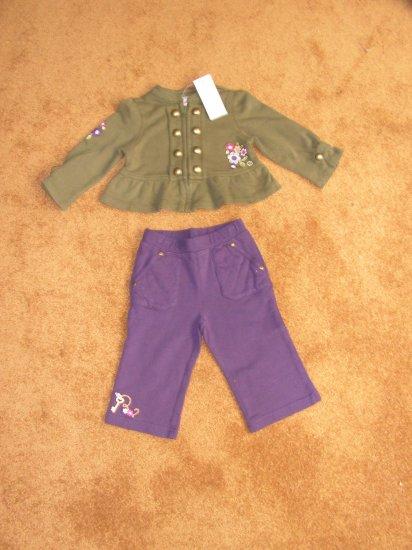 Girls toddler Gymboree purple pants olive green shirt  sz 12-18 months