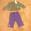 Girls toddler Gymboree purple pants olive green shirt  sz 12-18 months