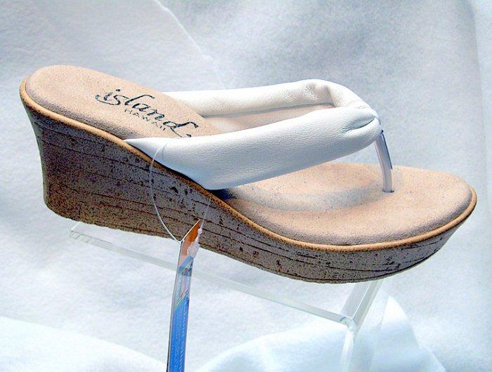 Island Slipper Women's P516 Wedge Thong - WHITE