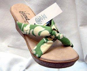 Island Slipper Women's P387 Wedge Sandal - TROPICAL OLIVE