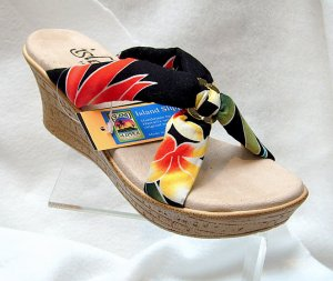 Island Slipper Women's P387 Wedge Sandal - TROPICAL BLACK