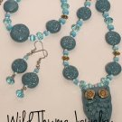 Teal clay owl and bullet casing necklace, bracelet and earrings set