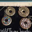 Free-Floating Shotgun Shell Casing Earrings with Crystals