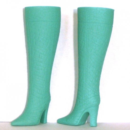 Doll Boots for 11.5 to 12 inch fashion dolls, AQUA / SEAFOAM, Candi Brand