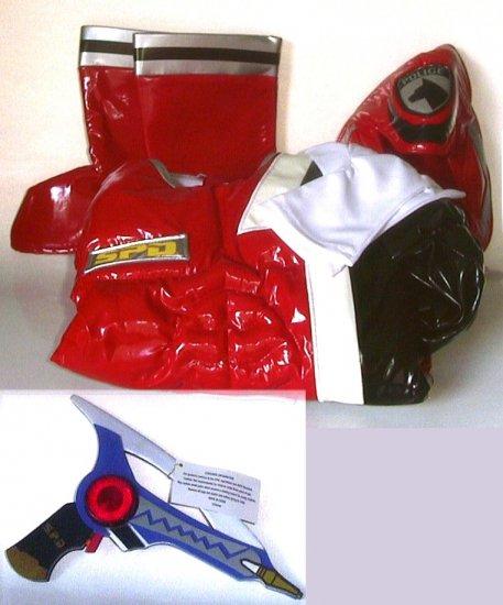 Disney Store RED POWER RANGERS Costume + GUN, XS 4/5