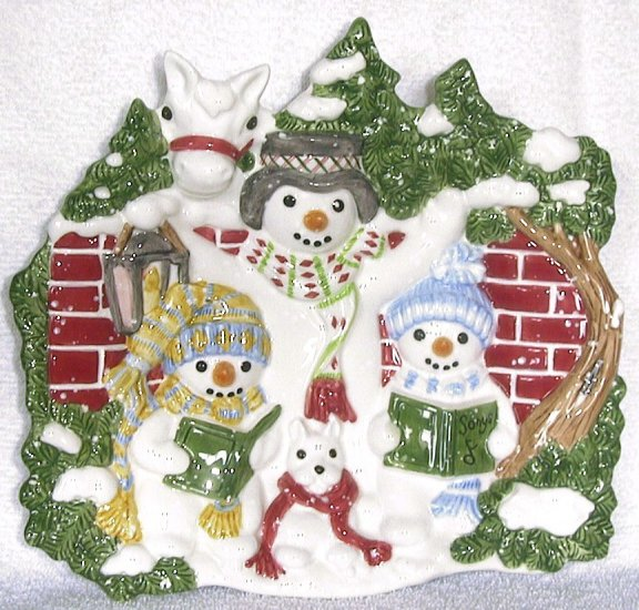 Flurries Fitz and Floyd snowman 9 inch CANAPE PLATE