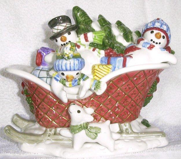 The Flurries snowmen LIDDED SLEIGH BOX