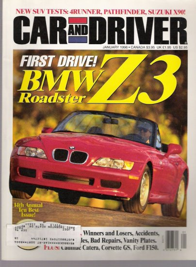 CAR AND DRIVER..  JANUARY 1996 BACK ISSUE