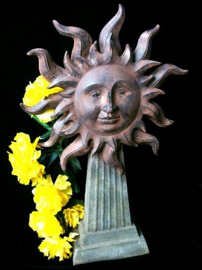 Cast Iron Look Sun Face On Pedesta
