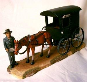 Amish Man Feeding Horse W/ Black Buggy