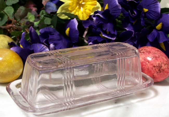 Butterdish Pink Glass