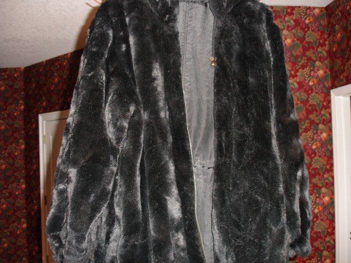 BLACK WINTER FUR COAT -REVERSABLE- W/ HOOD