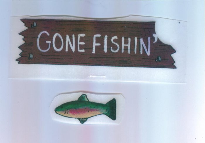 Scrapbooking Single Use RUB ON Ons GONE FISHING Rub-ons
