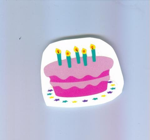Scrapbooking Stickers - BIRTHDAY CAKE Pink 5 Candles STICKER