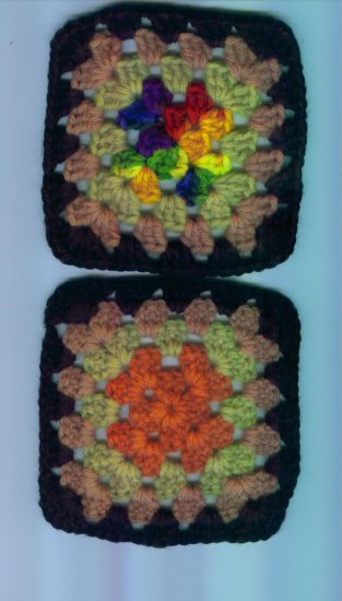 Hand Crafted Granny Squares Black Border Multi Colored Set of 2 #1