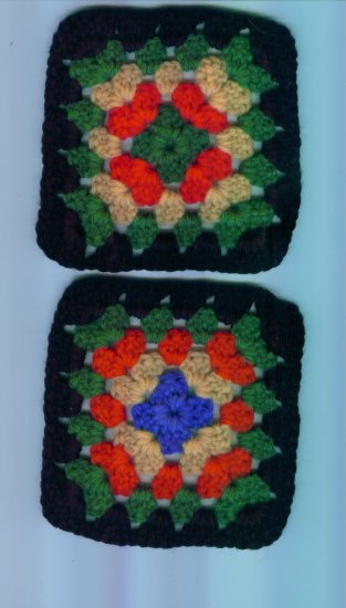 Hand Crafted Granny Squares Black Border Multi Colored Set of 2 #3