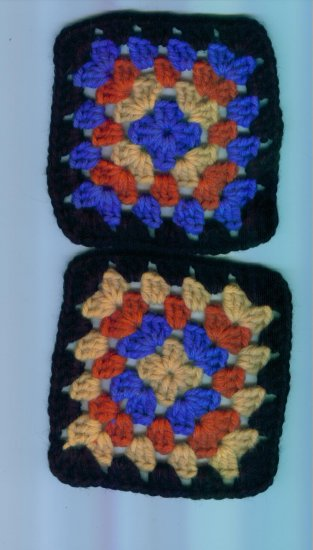 Hand Crafted Granny Squares Black Border Multi Colored Set of 2 #4