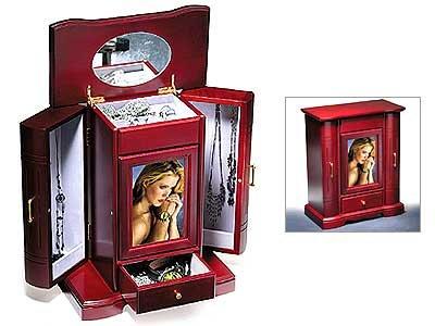 Secret Cherry Wood Jewelry Vault w/Velvet