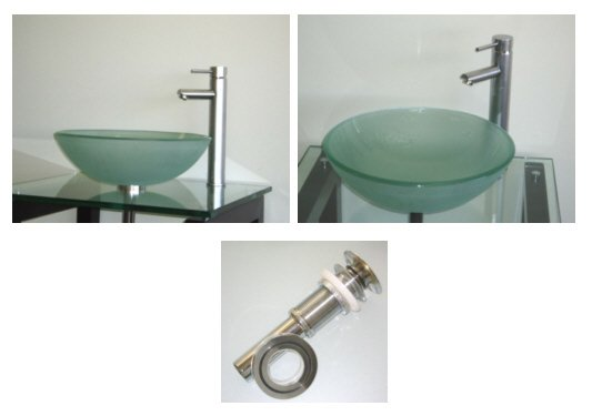 Ikasumoto Frosted Tempered Glass Sink + Chrome Faucet Combo