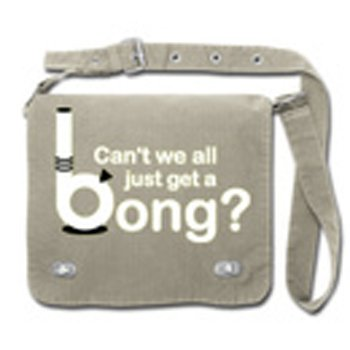 "Front flap Tag Bag ""Can't we all just get a bong"" Charcoal"