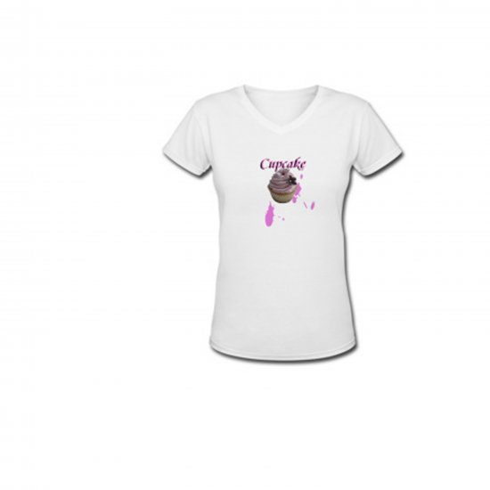 """Cupcake"" Ladies V-neck T shirt"