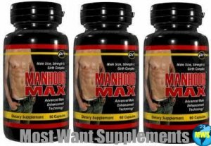Manhood Max�3 LOT MANHOOD MAX PENIS SIZE ENLARGEMENT & SEX STAMINA