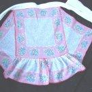Vintage 30s 40s Handkerchief Hanky Apron PINK w Blue Flowers