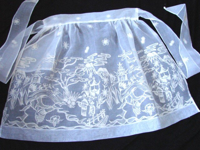 Vintage 50s Hostess ORIENTAL Apron FLOCKED ORGANZA NOS New w Tag