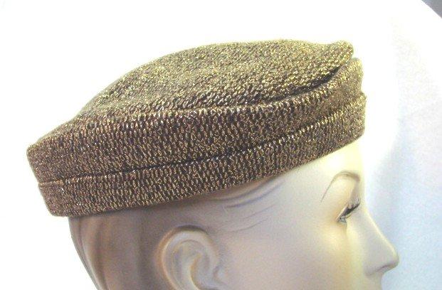 Vintage 50s Metallic Gold Woven Evening Hat New York Creations