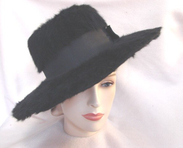 Vintage Edwardian 20s Wide Brim Fur Felt Hat BLACK EC