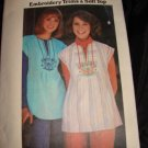 Sewing Pattern Vintage 70s Top Blouse EMBROIDERY Large NEW