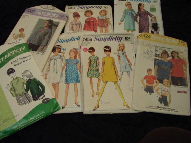 Sewing Pattern Girls Vintage 60s 70s Mod LOT 6