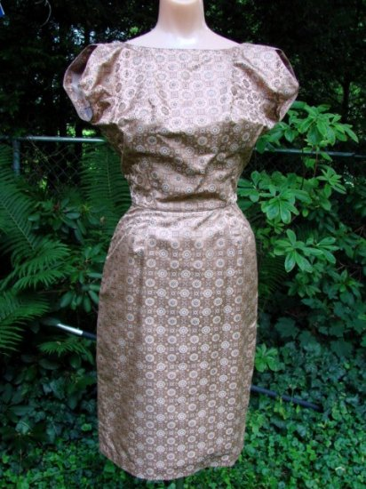 Vintage 50s SILK BROCADE Dress & Jacket QUALITY EC XS