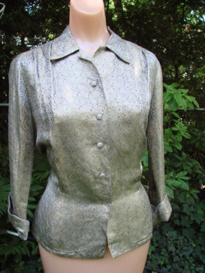 Vintage 50s GOLD BROCADE Blouse Top Fitted ELEGANT L