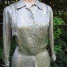 Vintage 50s GOLD BROCADE Blouse Top Fitted ELEGANT L
