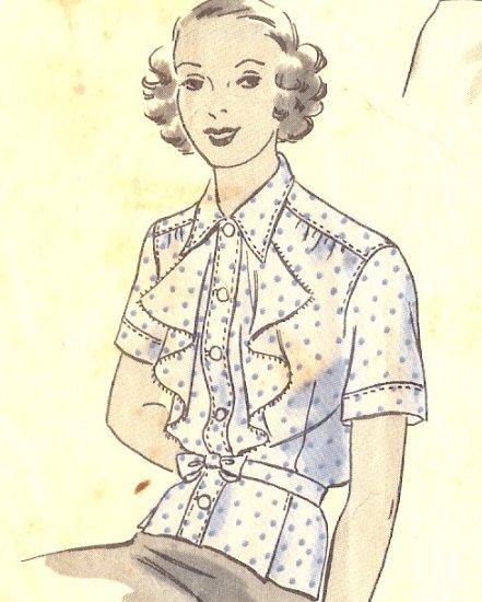 Sewing Pattern Vintage 40s Hollywood Blouse Peplum Ruffles B40