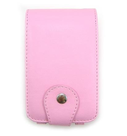 Vertical Leather Flip Cover Pouch Case for Creative Zen Vision M - Baby Pink
