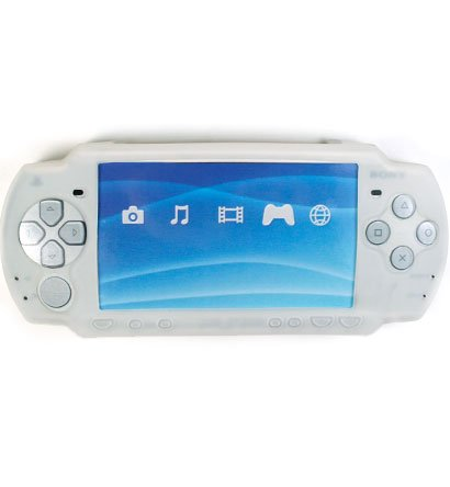 Silicone Skin Cover Case for Sony PlayStation Portable (PSP 2000) Slim - White