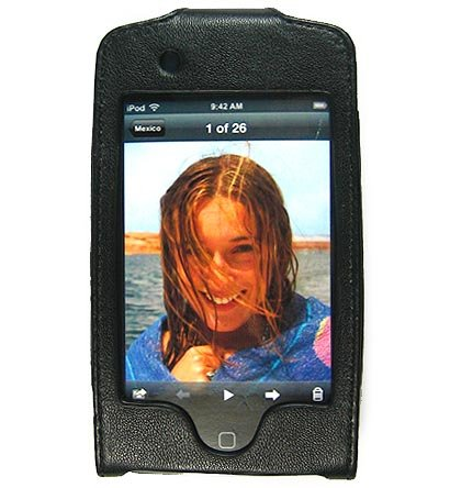 Leather Kickstand Carrying Protection Case Cover for Apple iTouch MP3 Music Video Player - Black