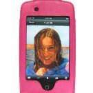 Leather Kickstand Carrying Protection Case Cover for Apple iTouch MP3 Music Video Player - HOT PINK