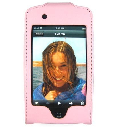 Leather Kickstand Carrying Protection Case Cover for Apple iTouch MP3 Music Video Player - PINK