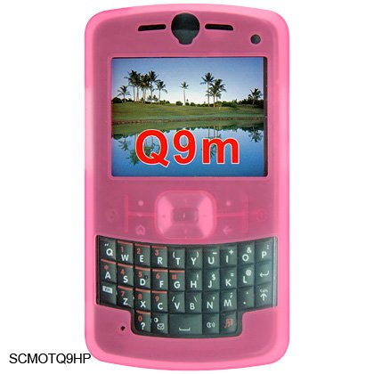 Soft Rubber Silicone Skin Cover Case for Motorola Q9m Cell Phone - Pink