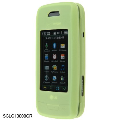 Soft Rubber Silicone Skin Cover Case for LG Voyager VX10000 - Green