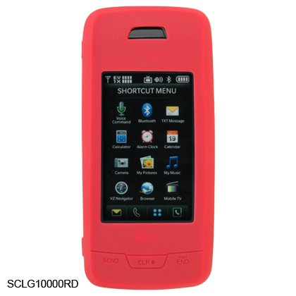 Soft Rubber Silicone Skin Cover Case for LG Voyager VX10000 - Red