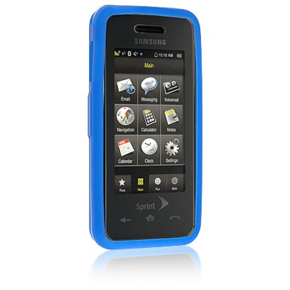 BLUE Soft Rubber Silicone Skin Case Cover for SAMSUNG INSTINCT M800 Cell Phone