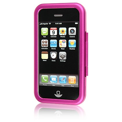 PINK Aluminum Hard Shell Shield Protector Case for Apple iPhone 3G 2nd Generation Cell Phone